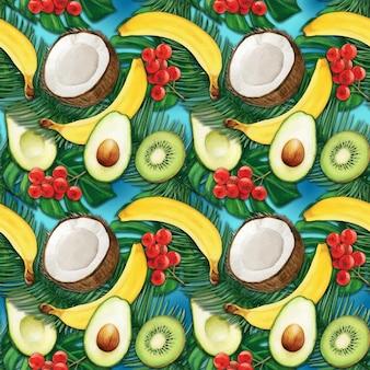 Reticolo tropicale variopinto di frutta dell'acquerello