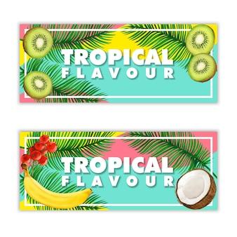 Bandiere tropicali di frutta dell'acquerello
