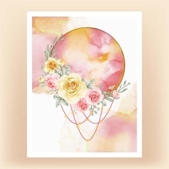 Acquerello luna piena giallo pesca fiore rosa Vettore Premium