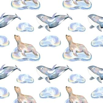 Guarnizioni di pelo acquerello su banchi di ghiaccio e balene