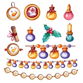 Set di ghirlande e decorazioni dell'acquerello