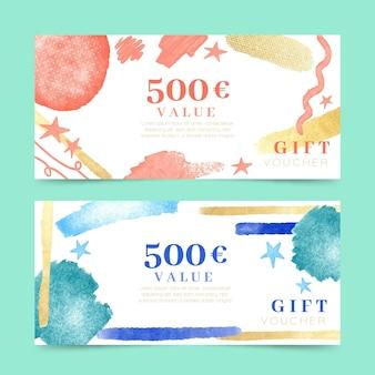 Set di modelli di voucher regalo dell'acquerello