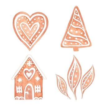 Biscotti di panpepato dell'acquerello per natale. insieme disegnato a mano dell'acquerello di pane allo zenzero. Vettore Premium
