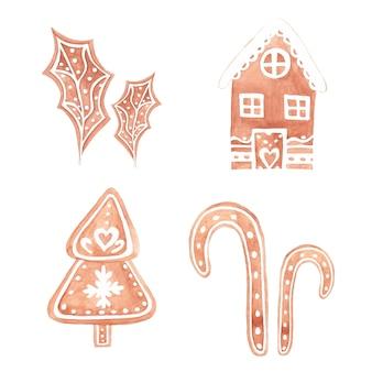 Biscotti di panpepato dell'acquerello per natale. insieme disegnato a mano dell'acquerello di pane allo zenzero.