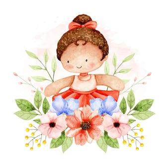 Ragazza e fiori dell'acquerello