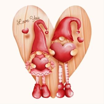 Coppia di gnomo dell'acquerello, carta di san valentino