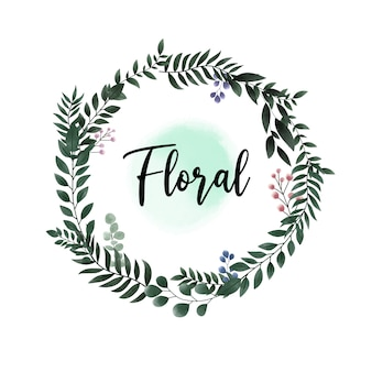Cornice floreale cerchio verde foglia acquerello per invito a nozze