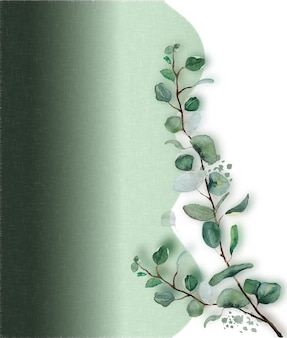 Ramo di foglie verdi dell'acquerello con priorità bassa di struttura del tessuto verde