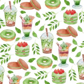 Modello senza cuciture di gouache dell'alimento di tema di matcha del tè verde dell'acquerello