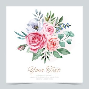 Cartolina d'auguri dell'acquerello mazzo dei fiori dell'acquerello isolati.