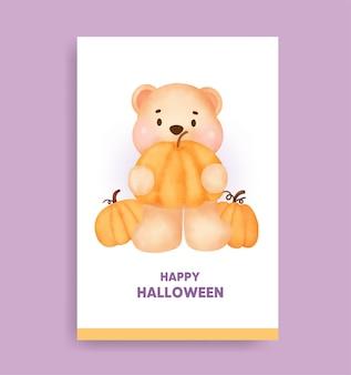 Orso di halloween dell'acquerello che tiene la carta della zucca