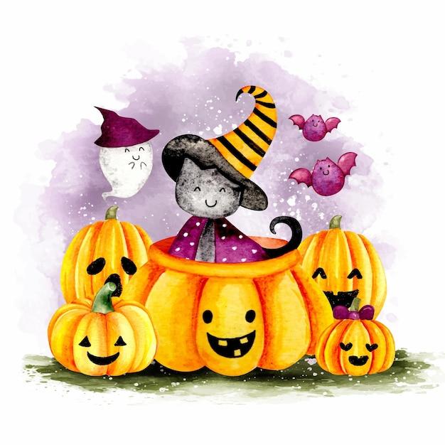 Lattina nera di halloween dell'acquerello nella zucca