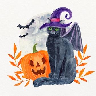 Illustrazione dell'acquerello del gatto di halloween