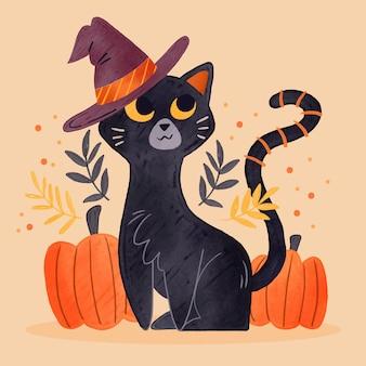 Gatto di halloween dell'acquerello