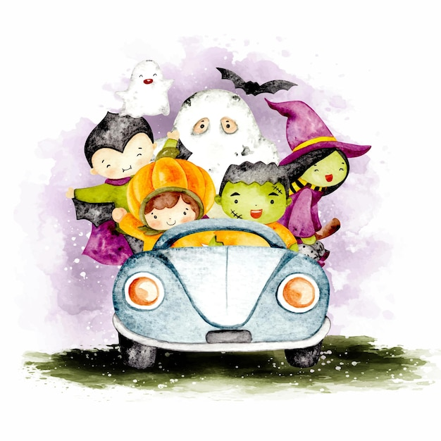 Personaggio di halloween dell'acquerello che guida un'auto blu