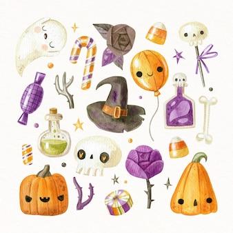 Collezione di elementi di halloween dell'acquerello
