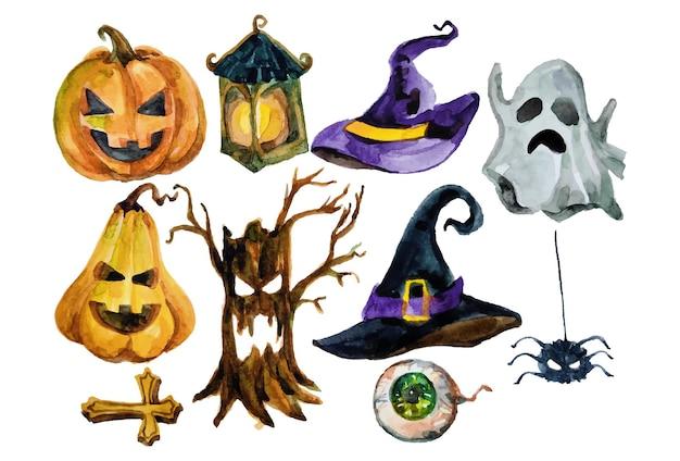 Elementi di halloween ad acquerello