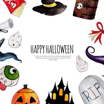 Acquerello halloween frame background