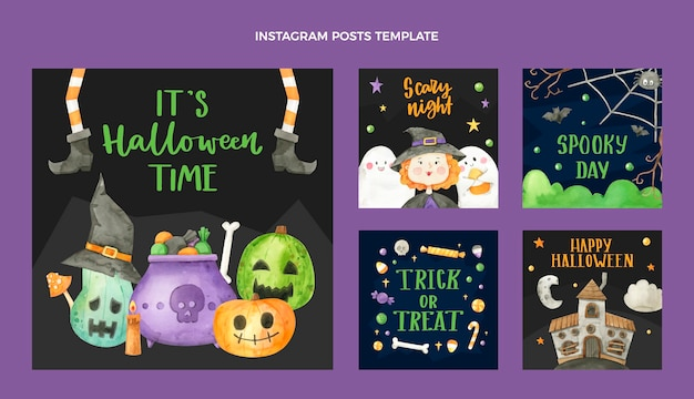 Collezione di post di instagram di halloween ad acquerello