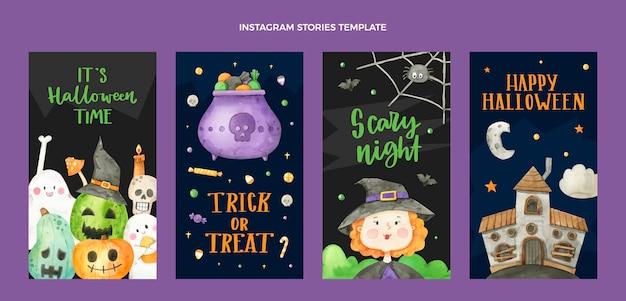 Raccolta di storie di instagram di halloween ad acquerello