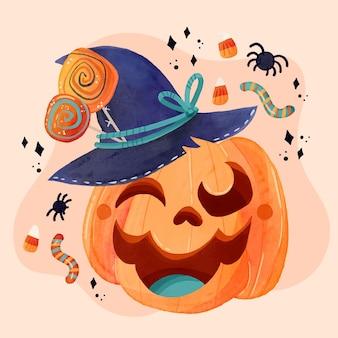 Illustrazione dell'acquerello della zucca di halloween