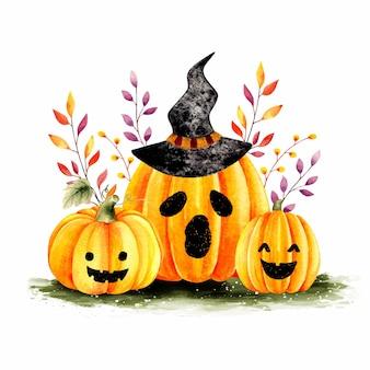 Vettore premium della zucca di halloween dell'acquerello