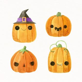 Collezione di zucche di halloween ad acquerello