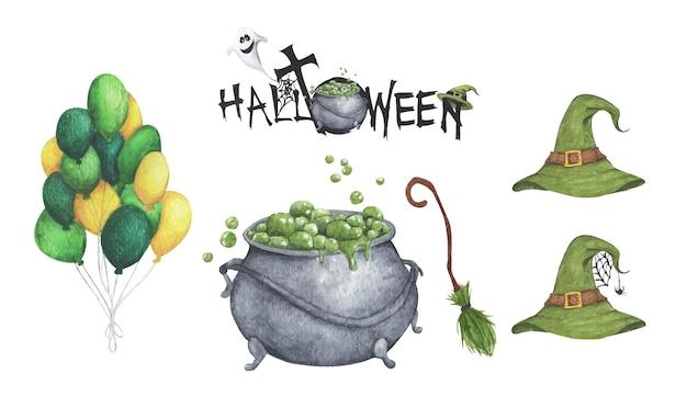 Insieme dell'acquerello di halloween. illustrazione di vacanza per il design.