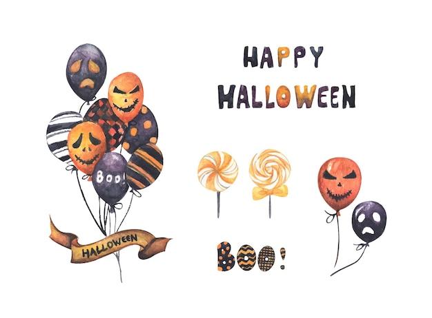 Insieme dell'illustrazione di festa di halloween dell'acquerello per il design