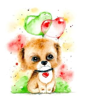 Acquerello disegnare a mano simpatico cane realistico con palloncini a cuore