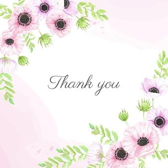 Biglietto di ringraziamento fiore anemone disegnato a mano dell'acquerello
