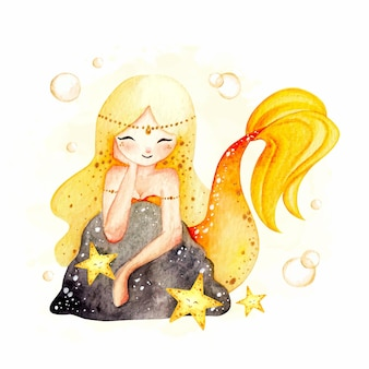 Bella sirena disegnata a mano dell'acquerello