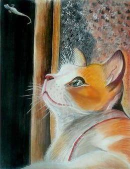 Bella illustrazione del gatto singolo disegnata a mano dell'acquerello
