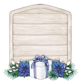Spazio del testo della stella di natale blu disegnato a mano dell'acquerello sul segno di legno squallido