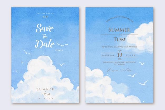 Modello stabilito dell'invito di nozze del cielo blu disegnato a mano dell'acquerello
