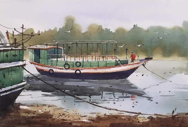 Illustrazione disegnata a mano di barche e uomo sul fiume dell'acquerello