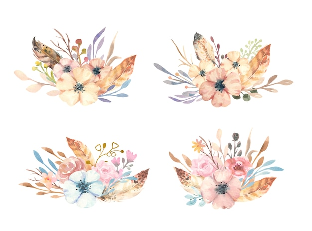Collezione di bouquet boho disegnato a mano dell'acquerello con fiori, rami e piume.