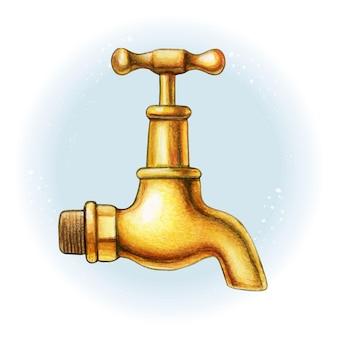 Rubinetto di acqua dorato in ottone disegnato a mano dell'acquerello