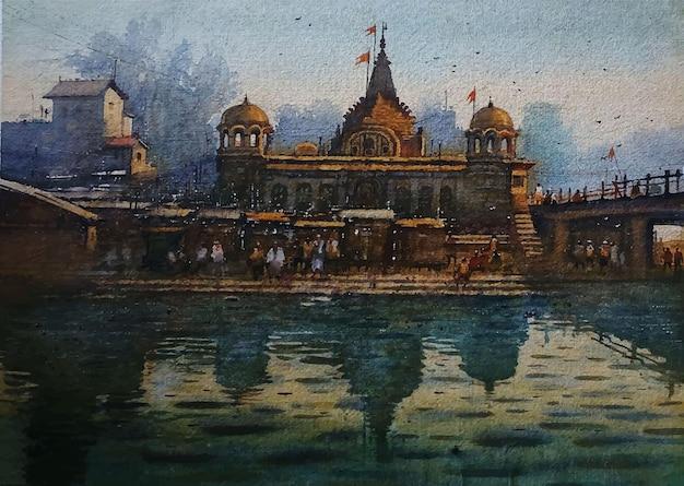 Illustrazione disegnata a mano della costruzione dell'acquerello nel lato del lago