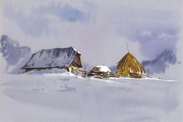 Campeggio disegnato a mano dell'acquerello in montagna