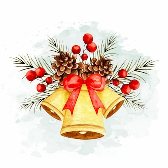 Ornamento di campana di natale disegnato a mano dell'acquerello