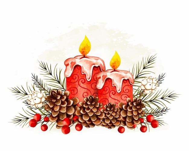 Candela natalizia disegnata a mano ad acquerello