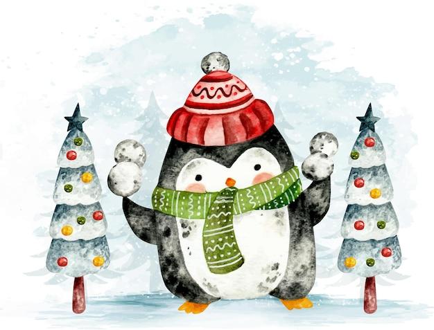 Pinguin di natale disegnato a mano dell'acquerello