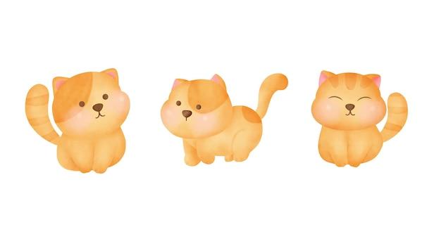 Set di gatti paffuti disegnati a mano ad acquerello