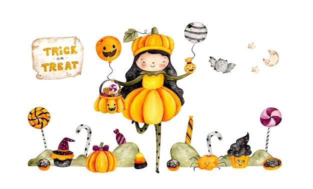 Insegna del costume di halloween della zucca sveglia disegnata a mano dell'acquerello