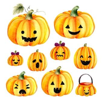 Faccia di halloween zucca carina disegnata a mano dell'acquerello