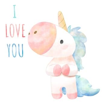 Unicorno carino disegnato a mano dell'acquerello.