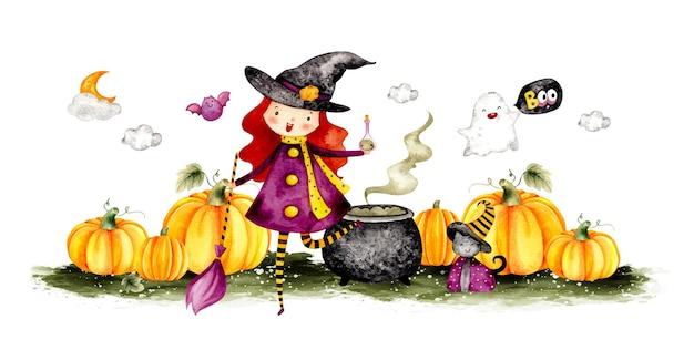 Banner di costume di halloween strega carina disegnata a mano dell'acquerello