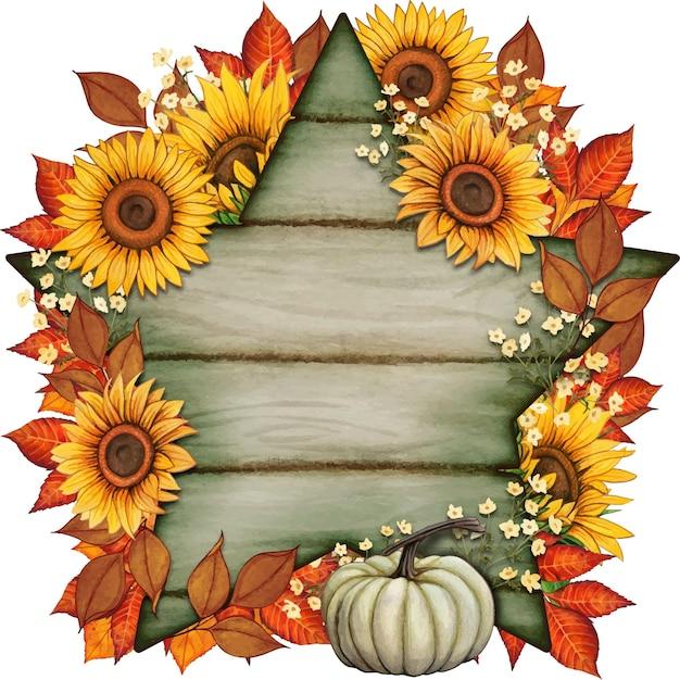 Composizione autunnale disegnata a mano ad acquerello con foglie autunnali e zucche