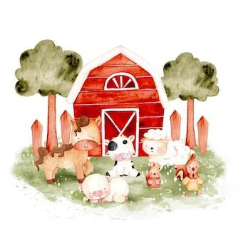 Animale da fattoria disegnato a mano dell'acquerello